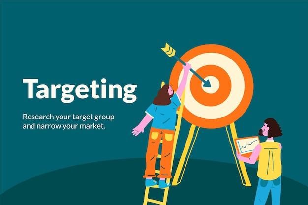 Маркетинговый вектор шаблона для таргетинга на запуск бизнеса в плоском дизайне