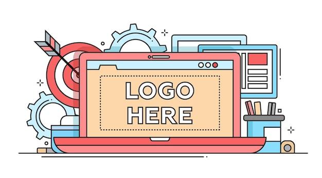 Маркетинг - векторная иллюстрация современного плоского дизайна с copyspace для вашего логотипа. ноутбук, рабочее место, дартс