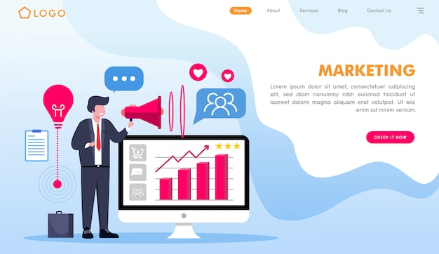 Marketing website landing page in flat style