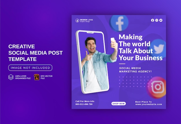 Marketing the world digital marketing instagram banner ad social media post template