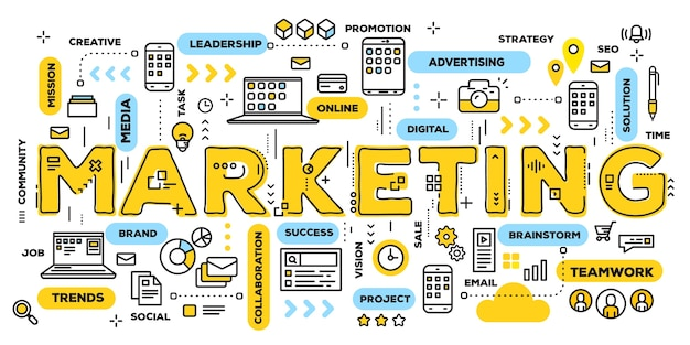 Маркетинг, желтое слово, надписи, типография с линейными значками и облаком тегов