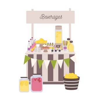 Marketplace or counter with signboard, bottles and jars with lemonade and other beverages