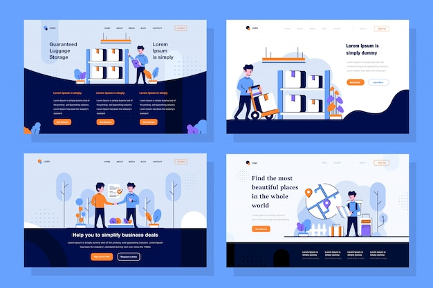 Marketplace landing page illustration in flat and outline design style