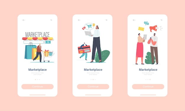 Marketplace retail business mobile app page onboard screen template. tiny characters use digital shop smartphone app or pc browser. online shopping platform concept. cartoon people vector illustration