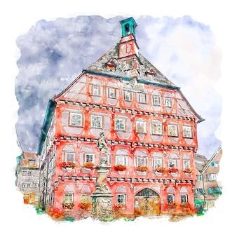 Markgroningen 독일 수채화 스케치 손으로 그린 그림