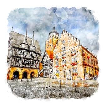 Marktplatz alsfeld 독일 수채화 스케치 손으로 그린 그림