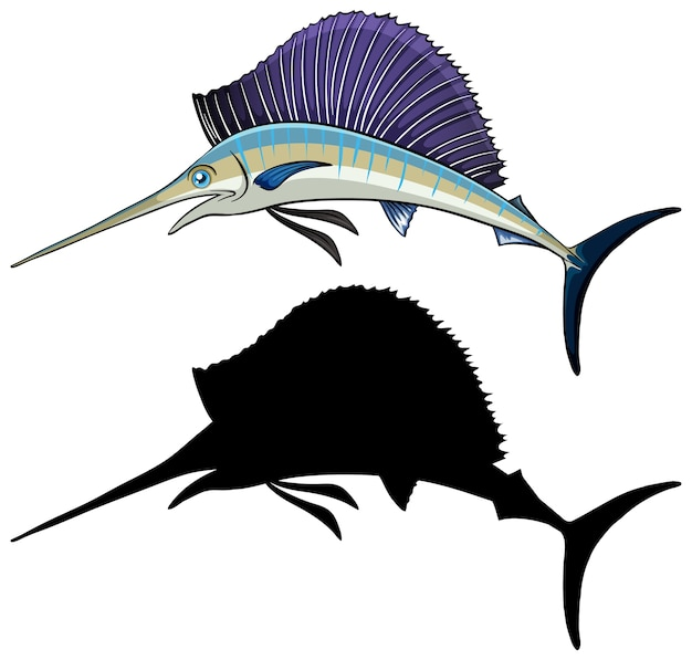 Marlin characters and its silhouette on white