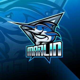 Марлин эспорт талисман дизайн логотипа