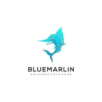 Марлин рыба красочный градиент стиль логотипа иллюстрации