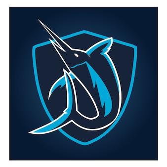 Марлин рыбы esport логотип фон темы векторной иллюстрации.
