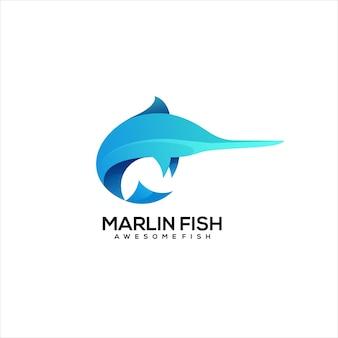 Marlin fish logo gradient colorful