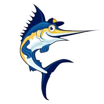Marlin fish mascot cartoon