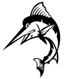 Marlin fish mascot logo