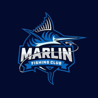 말린 낚시 클럽 로고. 독특하고 신선한 청새치 벡터 및 로고 템플릿.