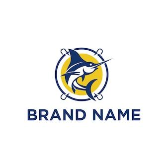 Иллюстрация дизайна логотипа рыбалки марлина для морской индустрии