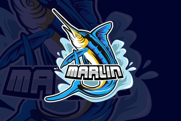 Марлин талисман спортивный дизайн логотипа