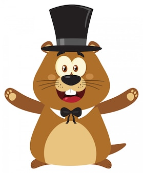 Marmot cartoon mascot character open arms in groundhog day