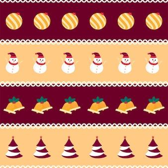 クリスマスツリー、雪だるま、ジングルの鐘とつまらないもののイラストで飾られた栗色と黄色の背景。
