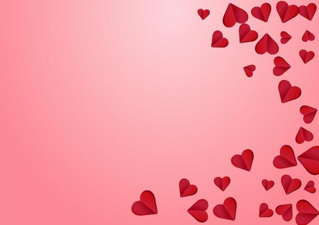 Maroon color papercut vector pink  backgound. 3d hearts postcard. burgundy decoration confetti texture.