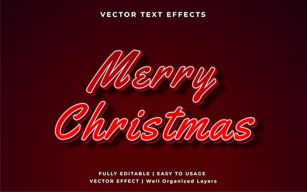 Бордовый редактируемый рождественский текстовый эффект