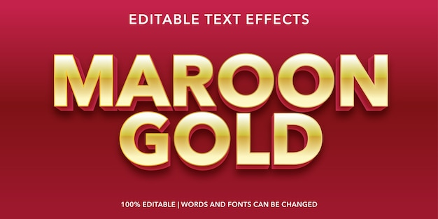 Эффект редактируемого текста в стиле бордовый золотой текст в 3d стиле