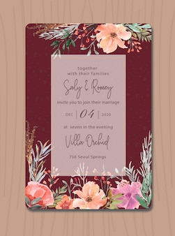 Maroon invitation with flower watercolor