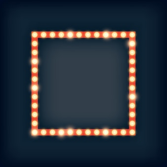 Marquee lights in square frame illustration