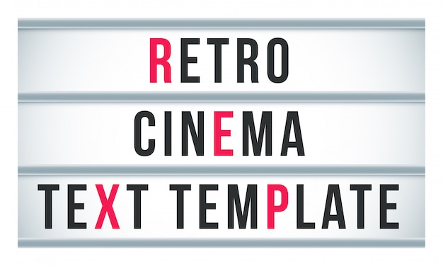 Marquee sign lightbox signage.  retro cinema or theater signboard billboard
