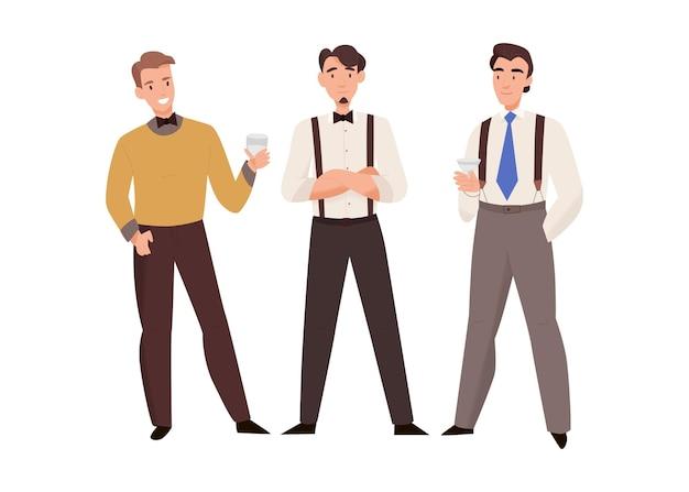 Composizione del giorno del matrimonio nella cerimonia del matrimonio con personaggi maschili di amici dell'illustrazione dello sposo