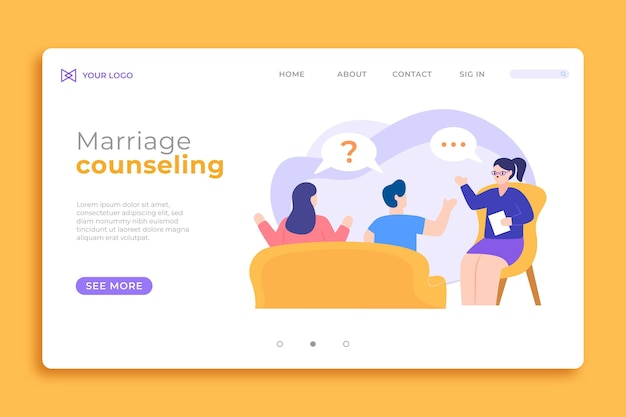 Marriage counseling landing page template