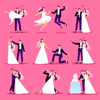 Marriage couple. just married couples, wedding dancing and weddings celebration. newlywed bride and groom  illustration set