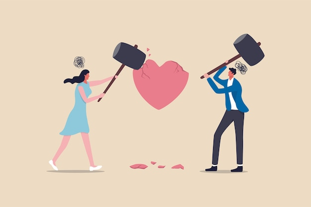 Проблема трудностей в браке, развод или насилие или болезненная концепция пары разорванных отношений, сердитая пара, муж и жена, используя большой молоток, чтобы ударить метафору формы разбитого сердца семейной проблемы