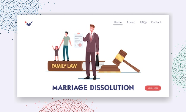 Marriage dissolution landing page template. tiny father character with little daughter and attorney at huge gavel, family law, judge courthouse during court hearing. cartoon people vector illustration