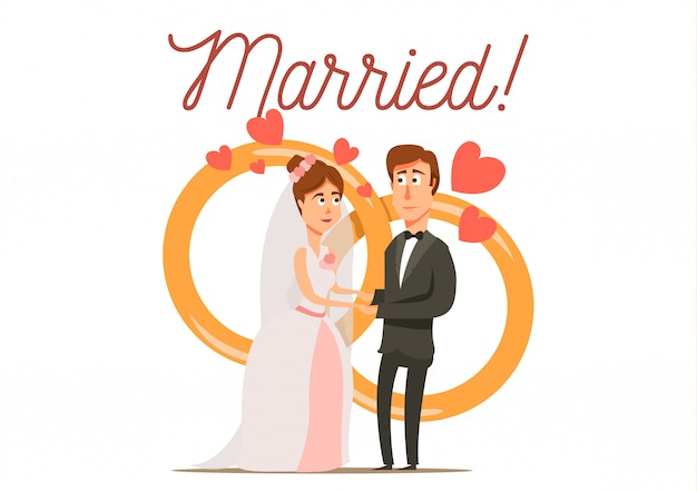 Marriage divorce set flat background with newly married couple bride and groom characters with wedding rings