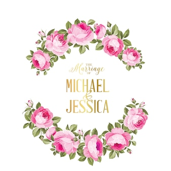 色のバラの花の結婚招待状。