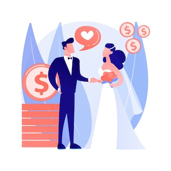 편의 추상 개념 벡터 일러스트 레이 션의 결혼. 정치적 결혼, 재정적 동기 부여, 오래된 부자 남편, 결혼 반지, 달러 지폐는 고위 추상 은유에서 돈을 가져갑니다.
