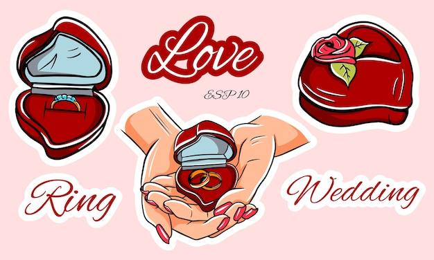 Предложение руки и сердца. обручение. обручальное кольцо. свадебные кольца. коробка для колец в форме сердца.