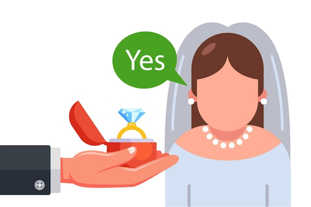 Marriage proposal to bride in wedding dress flat illustration