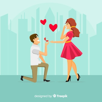Marriage proposal composition with flat design