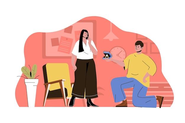 結婚提案のコンセプトひざまずく男は彼の最愛の女性にリングを提案します