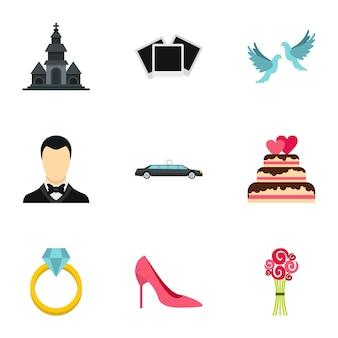 Marriage set, flat style