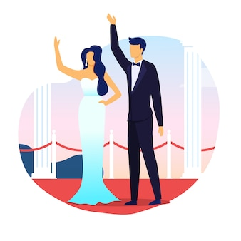 Married celebrities waving hands flat illustration