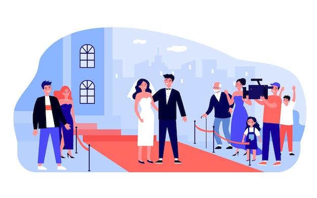 レッドカーペットで結婚した有名人のカップル。白いウェディングドレスとベールを身に着けている花嫁、タキシードのほうき、フラットベクトルイラストを記録するオペレーター。結婚式、バナーのイベントコンセプト、ウェブサイトのデザイン