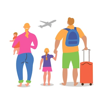 Married couple children different nationalities going vacation fly plane came airport