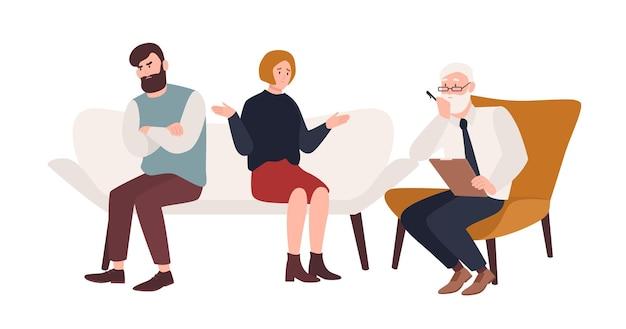 소파에 기혼 부부와 노인 심리학자, 정신 분석가 또는 심리 치료사가 그들 앞에 앉아 있습니다. 결혼 위기, 가족 갈등, 관계 문제. 플랫 만화 벡터 일러스트 레이 션.