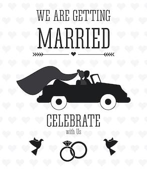 결혼 한 디자인. 웨딩 아이콘입니다. 평면 그림
