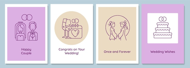 Married life beginning postcards with linear glyph icon set. wedding day. greeting card with decorative vector design. simple style poster with creative lineart illustration. flyer with holiday wish