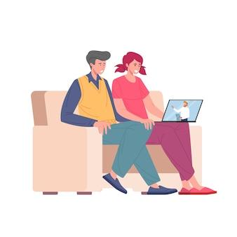 オンラインで家族心理療法のラップトップと結婚した若いカップル