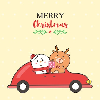 Marry christmas card snowman and reindeer on the red car cartoon hand drawn.