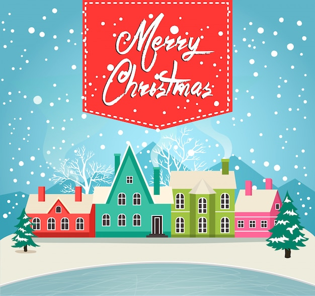 Marry christmas greeting card with village